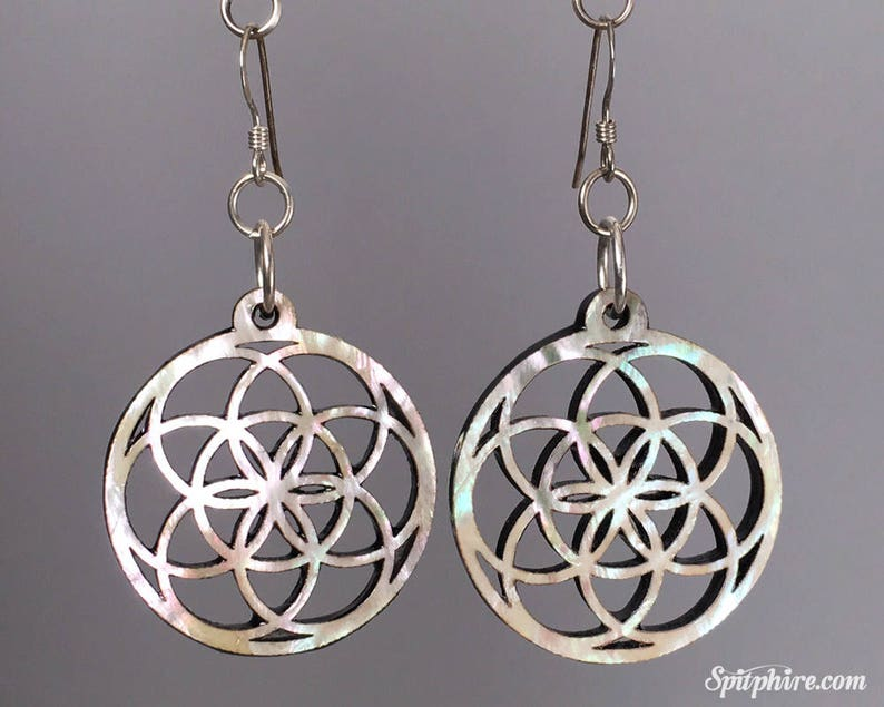 Flower of Life Earrings  Mother of Pearl image 0