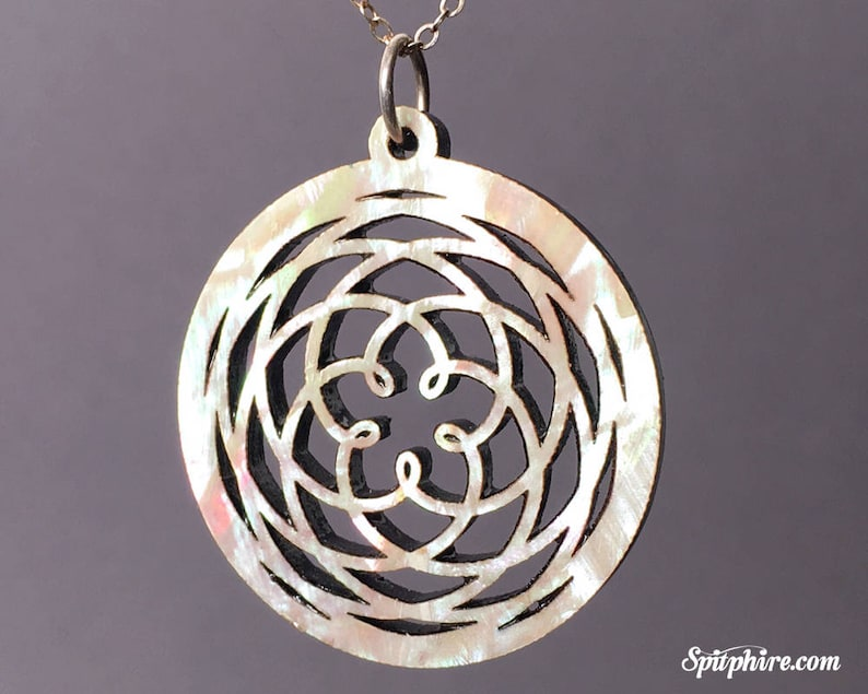 Venus Cycle Pendant Necklace  Mother of Pearl  Large  Laser image 0