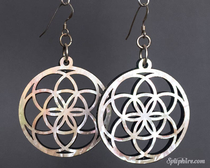 Flower of Life Earrings  Large  Mother of Pearl image 0