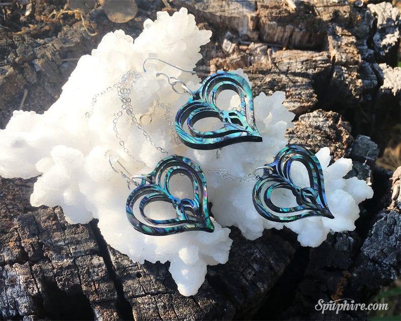 Sacred Heart Necklace and Earring Set  Abalone Paua Shell image 0