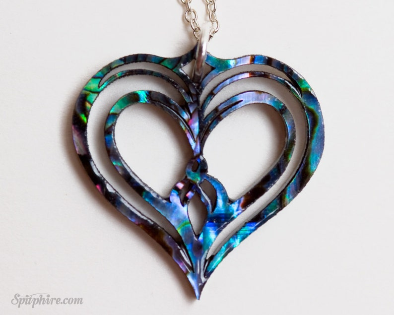 Heart Necklace  Abalone Paua Shell Love Necklace Sacred image 0