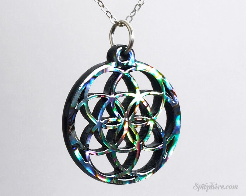 Flower of Life Necklace  Abalone  Sacred Geometry Necklace  image 0
