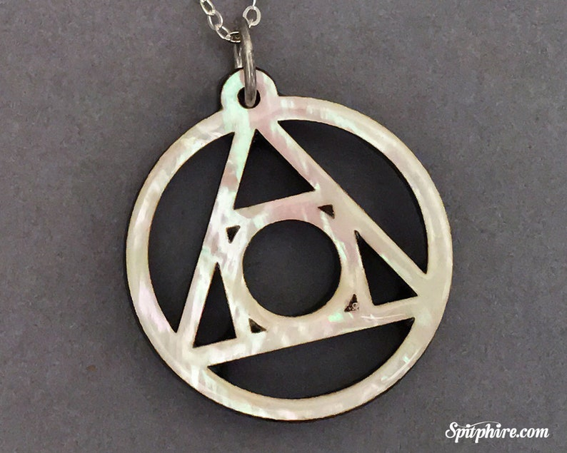 Alchemy Symbol Pendant Necklace  Mother of Pearl  Laser Cut image 0