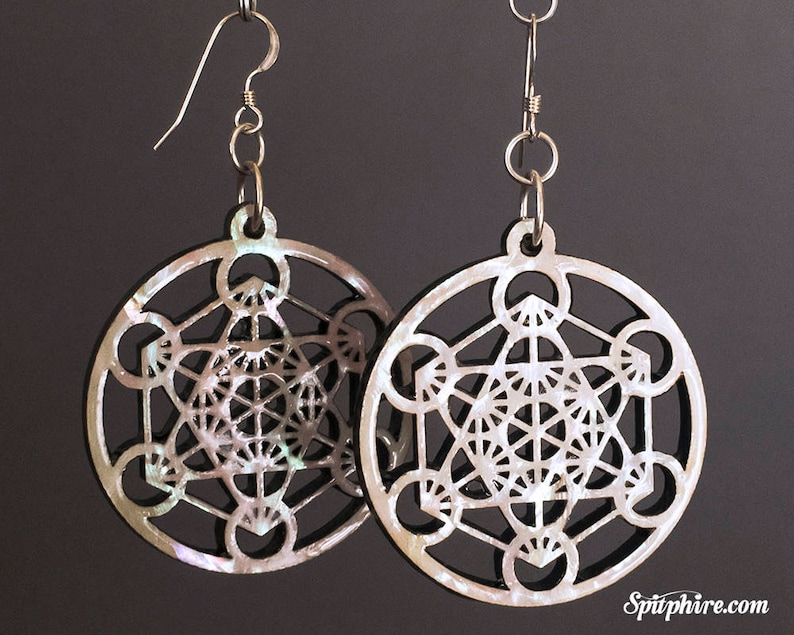 Metatron's Cube Earrings  Large  Mother of Pearl image 0