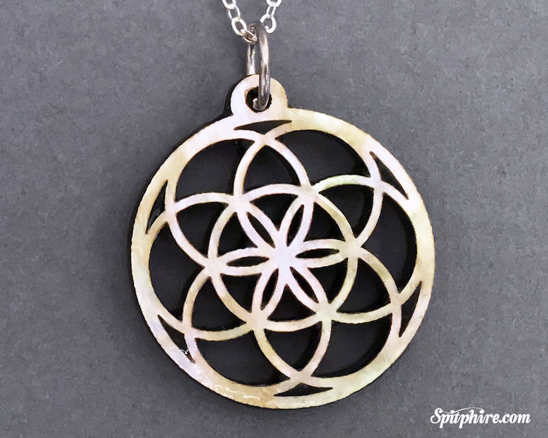 Flower of Life Necklace  Mother of Pearl  Sacred Geometry image 0