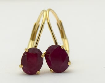 Oval Ruby Earrings Yellow Gold 14KT/6*4mm Leverback gold earrings natural rubies conflict free gemstones/Simple and modern earrings