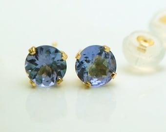 f4df16b10 4mm small round violet tanzanite studs 14kt yellow gold/Natural tanzanite  gemstone earring studs/gemstone earrings CONFLICT free genuine gem