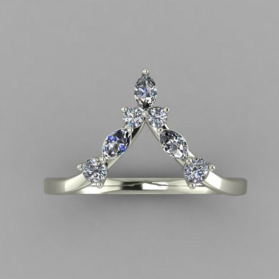 0.20ct Diamond V Ring Thumb ring Band 14K white goldLuxury enhancer V ring wedding band conflict free Canadian diamondsStacking ring Curve