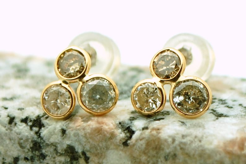 Champagne diamond studs 14KT yellow gold 14 of an inch cute diamond studs0.50ct conflict free champagne diamonds bridesmaids gift bride