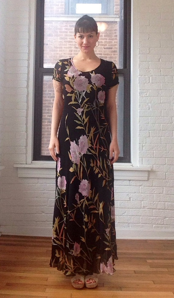 1990s Chiffon Floral Maxi Dress
