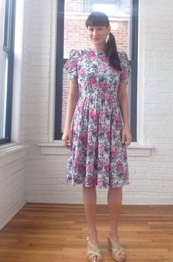 1980s Rose Print Dress