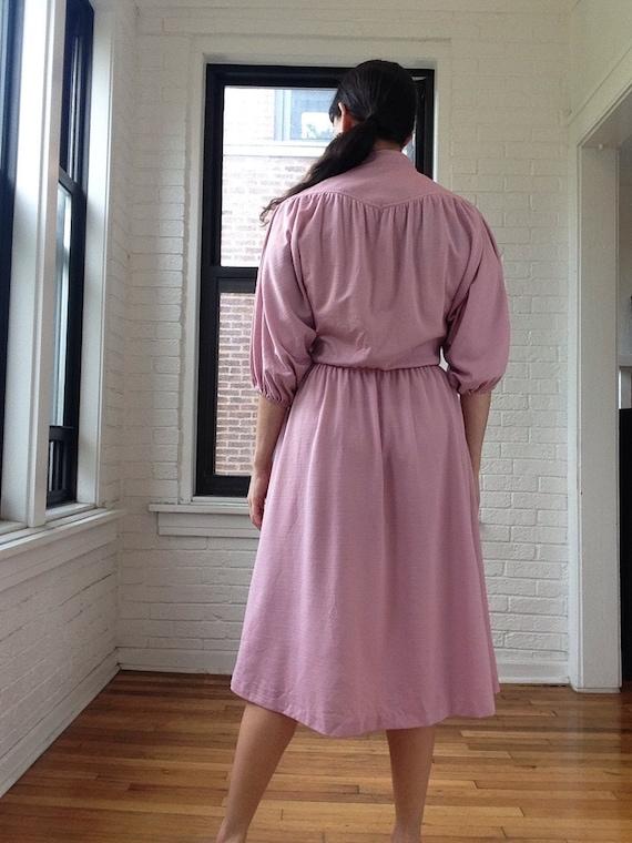 1970s Dusty Rose Shirt Dress - image 3