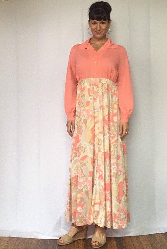 1970s Psychedelic Maxi Dress