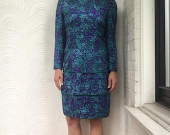 1980s Printed Silk Dress with Layered Skirt