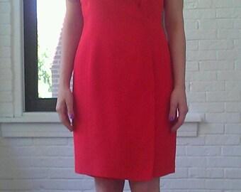 1990s Ellen Tracy Silk Wrap Style Dress