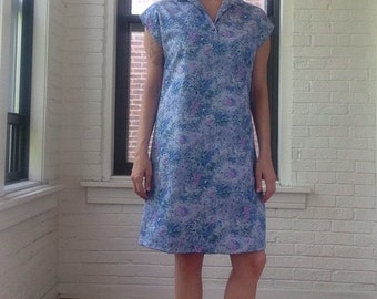 1970s Floral Dress with Collar