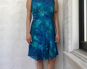 1990s Chiffon Watercolor Dress