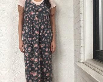 1980s Laura Ashley Floral Jumper Dress