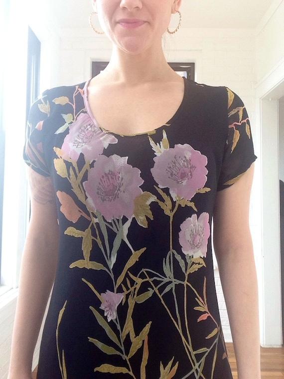 1990s Chiffon Floral Maxi Dress - image 3