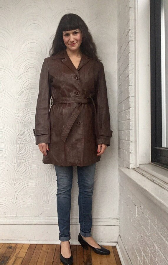 1970s Belted Leather Coat