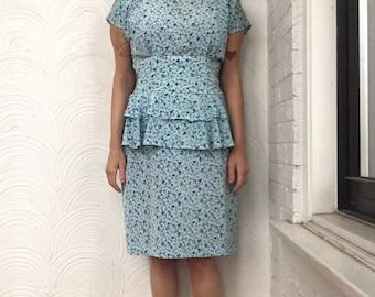 1980s Floral Layered Peplum Dress