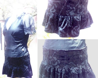 299cfd97d Raven little frilled skirt in black velvet