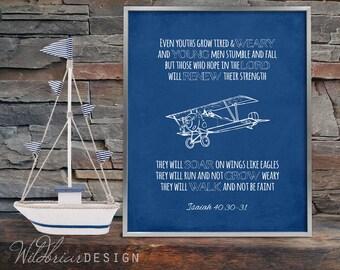 Isaiah 30 etsy printable nursery wall art scripture quote bible verse isaiah 4030 hope soar wings eagles vintage airplane blueprints instant download malvernweather Gallery