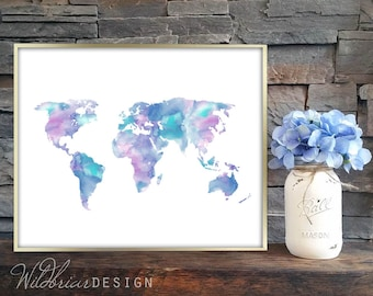 Teal world map etsy printable wall art watercolor world map globe kids room playroom library decor teal purple pink blue instant download gumiabroncs Images