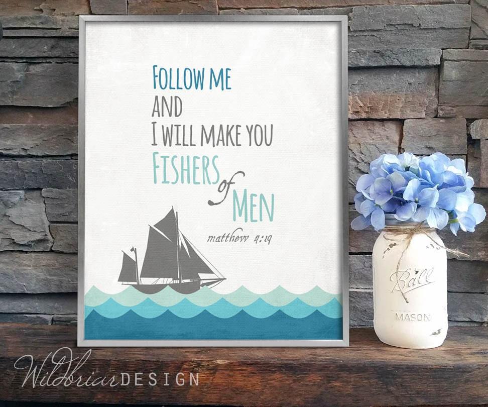 Para imprimir pescadores de vivero pared arte escritura verso | Etsy