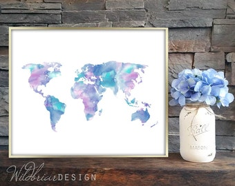 Printable Wall Art, Watercolor, World Map, globe, kids room, playroom, library decor, teal purple pink blue; INSTANT DOWNLOAD