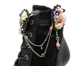 shoe clips with flowers, multicolor shoe jewelry