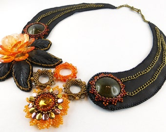 Necklace, Bead Embroidery, Leather