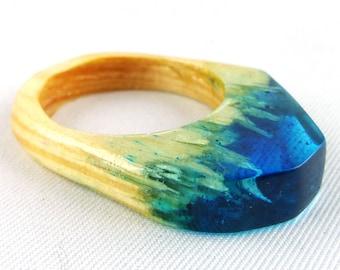 Ring, finger ring, finger jewelry, resin, wood,
