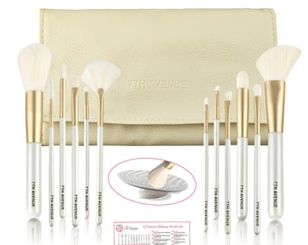 7th Avenue 12 Pieces White and Gold Makeup Brush set with Cream Carry Bag  and Bonus Cleaner Mat 0154092f197e