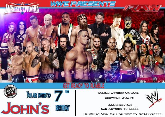 Wwe wrestlemania raw wrestlers 5x7 birthday party invitation filmwisefo
