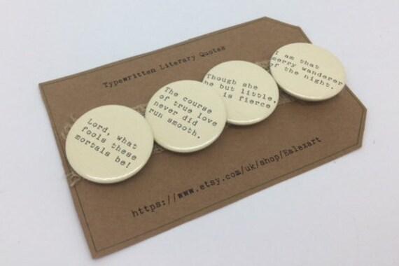Ein Sommernachtstraum Traum Shakespeare Zitat Button Anstecker X 4 Zitate
