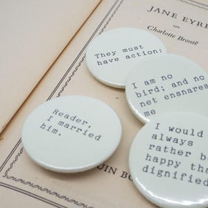 Jane Eyre badge Bronte Edward Rochester Pin back button Heroine 38mm