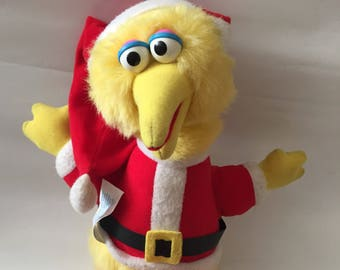"Vintage 1988 Christmas Big Bird - Sesame Street - PLAYSKOOL- 14"" Inch Plush Toy Stuffed Animal 1980's Santa Claus Suit Big Bird Yellow"