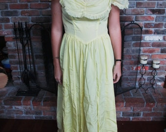 Vintage Handmade Pastel Yellow Floor Length Dress