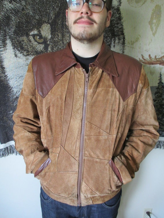 Vintage Brown Leather and Suede Patchwork Jacket-