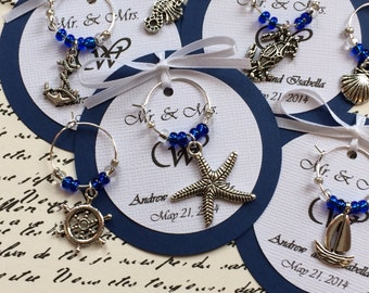 Custom Nautical Themed Wine Charm Favors - Weddings, Bridal Shower, Rehearsal Dinner, Anniversary, Birthday Party or Special Event