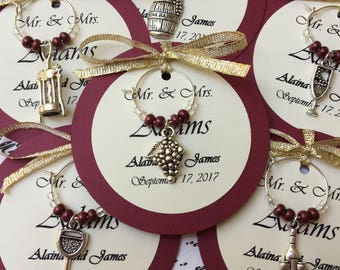 Custom Wine Themed Wine Charm Favors - Weddings, Bridal Shower, Rehearsal Dinner, Anniversary, Birthday Party, Dinner Party or Special Event