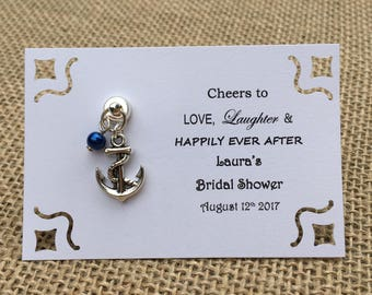 5-45 Custom NAUTICAL Themed MAGNETIC Wine Charm Favors - Weddings, Bridal Shower, Rehearsal Dinner, Anniversary, Birthday or Special Event