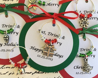 5-45 Custom Christmas Wine Charm Favors - Weddings, Bridal Shower, Rehearsal Dinner, Anniversary, Holiday Party or Dinner Party