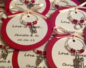 Custom Wine Charm Favors - Weddings, Bridal Shower, Rehearsal Dinner, Anniversary, Birthday Party, Dinner Party or Special Event