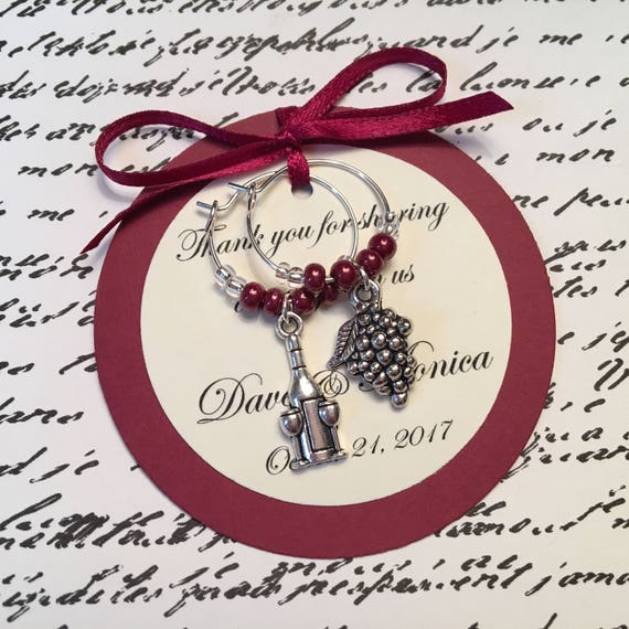 Anniversary Rehearsal Dinner Bridal Shower Dinner Party or Special Event Weddings Custom Wine Themed Wine Charm Favors Birthday