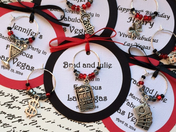 5 45 Custom Las Vegas Themed Wine Charm Favors Weddings Etsy
