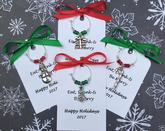 50-95 Custom Christmas Wine Charm Favors - Weddings, Bridal Shower, Rehearsal Dinner, Anniversary, Holiday Party or Dinner Party