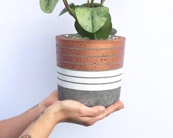 Medium Concrete Cylinder Copper and White Striped