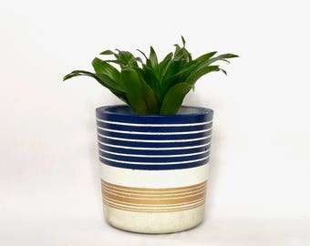 Large Concrete Cylinder Blue, White and Gold Striped